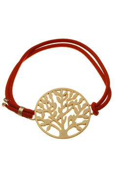 Gold Plated Silver & Cord Tree Of Life Bracelet