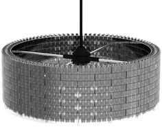 the LygoLamp from the Netherlands-based design firm Studio Mango. Inspired by LEGO bricks, they created a circular hanging lamp that arrives at your home in the form of 12 dozen curved, interlocking plastic bricks, as well as the necessary lighting hardware. via design milk