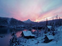 on christmas morning at peterson bay in alaska located near homer ak Beautiful Places To Visit, Oh The Places You'll Go, Alaskan Homes, Anchorage Alaska, Alaska Usa, Alaska Winter, Homer Alaska, Alaska The Last Frontier, Living In Alaska