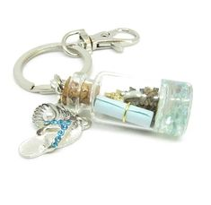Keychain with Beach Bottle and Note - Gift for The Beach Lover - Beach Car Charms