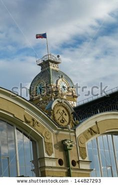 Detail of the palace of industry within the Incheba Expo area, Prague, Czech Republic - stock photo
