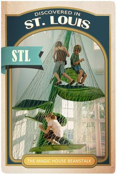 Some of the best stories have taken place on the field. Some of the other bests have taken place on a beanstalk. Towering at three stories tall, kids can now climb the beanstalk made famous by Jack himself. Check out the Jack and The Beanstalk exhibit at The Magic House, St. Louis Children's Museum.