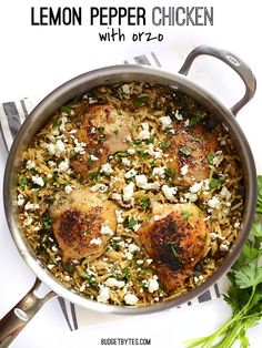 Lemon Pepper Chicken with Orzo | BudgetBytes