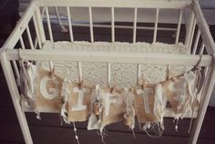 Burlap and Lace Baby Shower with So Many Cute Ideas via Kara's Party Ideas KarasPartyIdeas.com #burlapandlace #genderneutralbabyshower #dess...