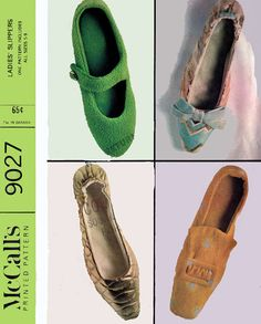 1960s Ladies Slippers McCalls 9027 House Shoes Mary Janes Loafers Slip Ons Womens Vintage Shoe Sewing Pattern Size 5 - 9 Mostly Uncut