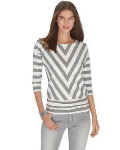3/4 Sleeve Shimmer Stripe Blouson Top