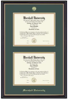 Product: Marshall University 8.5x11 Prestige Dual Degree Diploma Frame