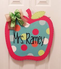Handpainted Personalized Teacher Apple Sign