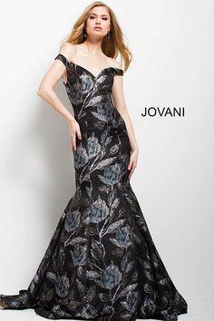 f95dd1341c2 Print Off the Shoulder Mermaid Gown  55093  Jovani  Fall2017 Mermaid Gown