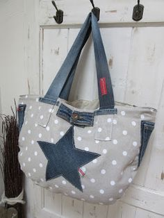 Beachbag, Upcycling, alte Jeans neue Tasche, PedisHandmade