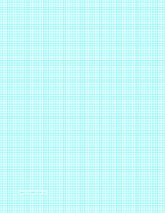 This letter-sized graph paper has eight aqua blue lines every inch. It can be used as a knit or seed guide for bead patterns. Free to download and print