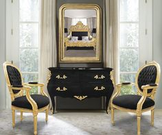 Baroque chest of drawers (commode) of style Louis XV black and gold bronzes