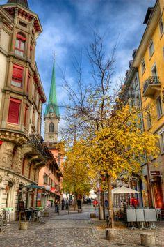 Zurich street, right off Banhoff Strasse in downtown Zurich