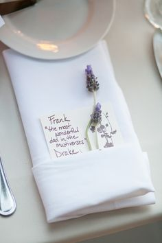 Wow! These personalized place settings look like a lot of work, but they're adorable and make a big impression. Love the sprigs of lavender.