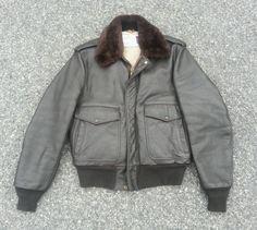 Vintage Schott IS-674-MS Leather Flight Jacket size 42 Bomber Motorcycle #Schott #FlightBomber