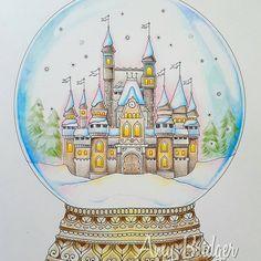 Snow globe from Johannas Christmas colored with Prismacolors. #johannaschristmas #johannabasford #adultcoloringbook