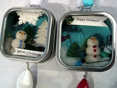 Made with favor boxes and polymer clay snowmen. Craft Activities For Kids, Christmas Activities, Christmas Crafts For Kids, Christmas Projects, Christmas Fun, Holiday Crafts, Craft Ideas, Homemade Christmas, Fun Ideas