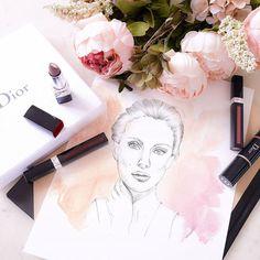 Encore un grand merci à la team @diormakeup (@heyitsroseline @diormakeupbyalex et @aurore_mua )pour ces cadeaux et cette après-midi incroyable. Je vous poste mon dessin réalisé avec les conseils de la pro du portrait @mademoisellestef. Bon c'était censé être un portrait de la belle Natalie Portman, égérie de Dior, mais il y a encore des progrès à faire 😉. #natalieportman #dior #illustration #makeup #maquillage #pink #rose #dessin #portrait #crayon #pencil #watercolor #peony