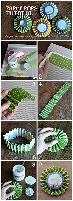 card embellishment photo tutorial ... paper pops ... rosettes with circle centers ... could also be used for fancy name tags ...