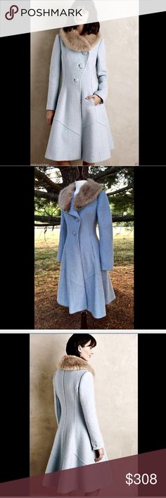 """Anthropologie Elevenses blue heavy weight coat 0 Anthropologie Elevenses light blue  beautiful boucle wool blend heavy weight coat with a removable fawn faux  mink collar NWOT Size: 0 retail price:   $348.00  * Please Note: the very top button under the collar is light brown like the fur collar, I am not sure if the button was changed or not, but this is the way I bought it, price reflects this! Please see picture #7 *these is a black line through the label to prevent store return 34"""" around…"""