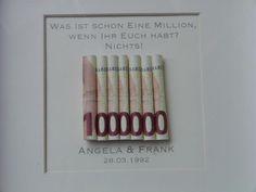 Geldgeschenk zur Hochzeit, Bilderrahmen Million