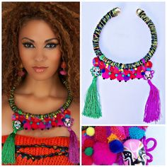 Fiber art fringe colorful statement necklace Chinese by Diomios