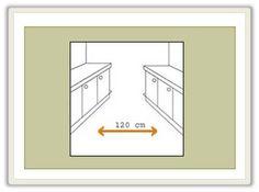 A largura mímina de 1.20 m entre as bancadas de trabalho.