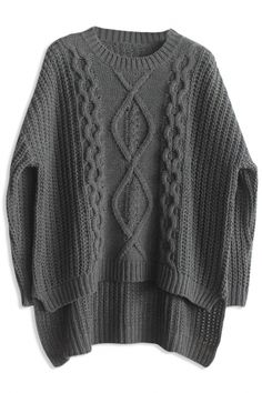 Deep Grey High-Low Cable Knit Sweater