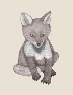 Nursery Print Baby Fox Woodland Critter 5 x by ScubamouseStudiosJr, $12.00