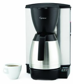 Capresso Coffee Maker with Glass Carafe, Pictured with stainless steel carafe Features: -Coffee maker. -Milled Steel, Stainless Steel, ABS and Polypropylene construction. -Glass carafe with ergonomic handle has brew through lid and . Espresso Machine Reviews, Coffee Maker Reviews, Best Coffee Maker, Drip Coffee Maker, Capresso Coffee Maker, Thermal Coffee Maker, Electric Coffee Maker, Best Food Processor, Home