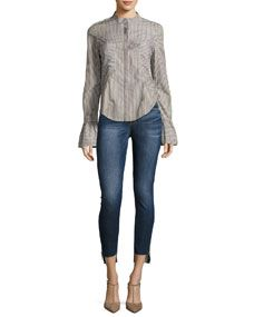 FRAME Le Skinny Raw Stagger Zip Jeans, Blue and Matching Items