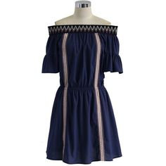 Chicwish A Boho Twirl Off-shoulder Dress in Navy (71 AUD) ❤ liked on Polyvore featuring dresses, blue, blue off the shoulder dress, embroidered dress, boho dresses, blue striped dress and blue cotton dress