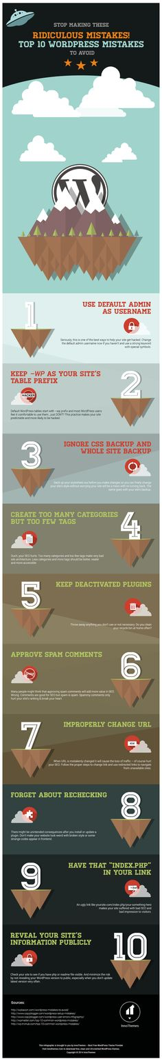 Top 10 WordPress Mistakes To Avoid #infographic #WordPress #Blogging