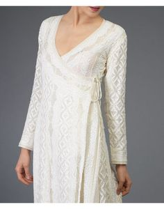 Pre-Order Ivory Chikankari With Kamdani Angrakha SuitHandcrafted Bridal, Occasion Wear and Luxury Essentials Punjabi Suit Neck Designs, Neck Designs For Suits, Kurta Neck Design, Dress Neck Designs, Simple Kurti Designs, Kurta Designs Women, Salwar Designs, Indian Outfits, Indian Attire