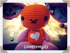 Floppy Ears Bunny Amigurumi Crochet Plush Doll / Handmade Gift for Valentine / Couples Gift. $60.00, via Etsy.