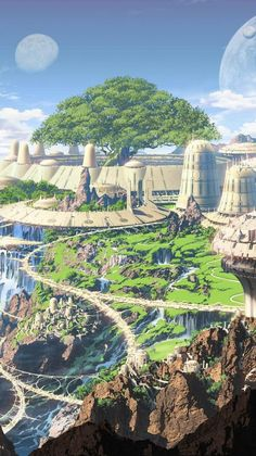 this is a utopian city because it has the perfect place to live in Fantasy City, Fantasy Castle, Fantasy Places, Sci Fi Fantasy, Fantasy World, Fantasy Concept Art, Fantasy Artwork, Environment Concept Art, Environment Design