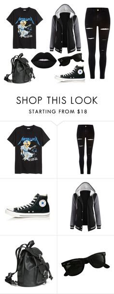 """""""ALL BLACK"""" by ghetaudorina on Polyvore featuring H&M, River Island, Converse and Ray-Ban"""