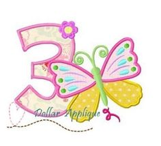 Butterfly Number 3 Applique - 3 Sizes!   What's New   Machine Embroidery Designs   SWAKembroidery.com Dollar Applique