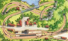 Das Thema der Anlage in eine eingleisige Strecke, die sich in verschlungener Linienführung vom Bahnhof über die Brücke und den Viadukt hinab und wieder herauf windet. Die unterste Streckenebene ist in ihrem sichtbaren Teil als zweigleisige Hauptbahn angelegt, indem zu ihr parallel ein einfacher Rundkurs über den Schattenbahnhof gelegt ist. Die Züge können wechselseitig beide Kreise befahren, da eine Verbindung über den doppelten Spurwechsel mit EKW besteht. So können die Züge des…