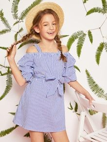 To find out about the Girls Gathered Sleeve Belted Striped Dress at SHEIN, part of our latest Girls Dresses ready to shop online today! Girls Fashion Clothes, Tween Fashion, Little Fashionista, Kids Girls, Cute Girls, Types Of Sleeves, Dresses With Sleeves, Cute Girl Dresses, Dress Girl