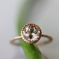 Morganite Milgrain Engagement Ring In 14K Gold