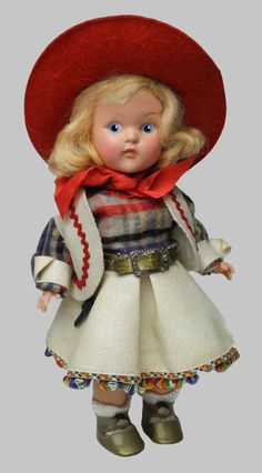 "8"" GINNY COWGIRL PE 1948-50..ALL ORIGINAL...BEAUTIFUL HARD PLASTIC VOGUE"