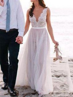 Beach Wedding Dress,Summer Wedding Dress,Flowy Wedding Dress,Lace Top Wedding Dress,WS076