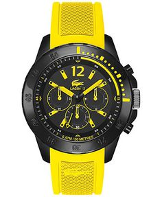 Lacoste Men's Chronograph Fidji Yellow Silicone Strap Watch 46mm 2010739