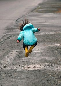 Play puddle hopscotch. Get out in the mud and let loose! Followed by a nice shower and cuddle up with a great movie <3 with kiddos or your Boo