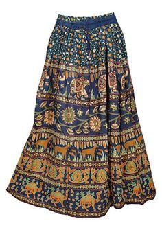 aab8b7540d Mogul Interior Womens Blue Maxi Skirt Gypsy Fashion Printed Flare  Drawstring Casual Summer Boho Skirts M