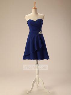 Sweetheart Blue Chiffon A-Line Cheap Short Prom Dress Evening Dress Bridesmaid Dress