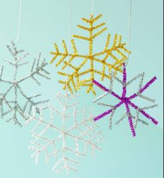 Easy snowflakes: for in the window or hanging from chandelier over kitchen table