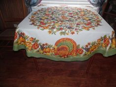 Fall Colors Turkey Tablecloth for by BridenetVintageLinen on Etsy