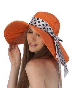 Another great find on #zulily! Orange & White Scarf-Wrap Sunhat #zulilyfinds